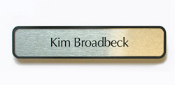 Brushed Silver Nameplate with Black Plastic Frame