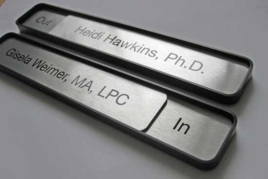 office door signs, wall or desktop office name plates and conference signs