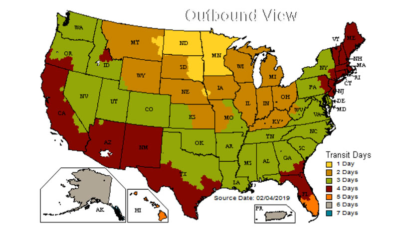 ups shipping map USA ground packages